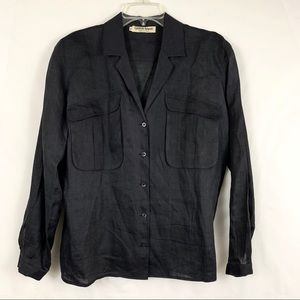 Giorgio Armani Vintage Black Linen Button Down Top